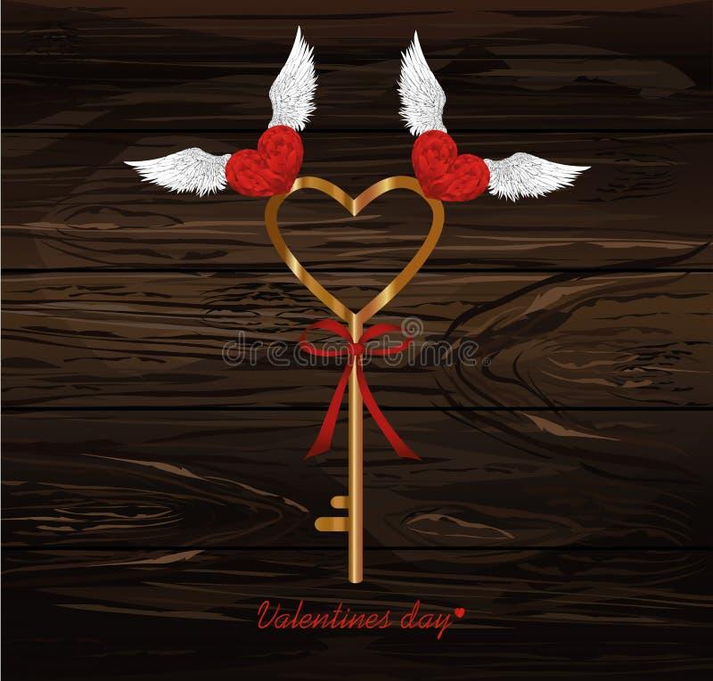 La clé magique du coeur Sélection d'oiseaux il  Jour du `s de Valentine Gre illustration de vecteur