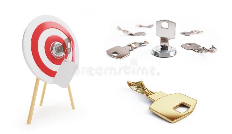 La clé a placé sur une illustration blanche du fond 3D, le rendu 3D illustration libre de droits