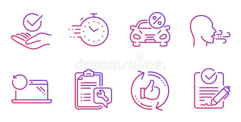La clé, régénèrent comme et ensemble d'icônes de minuterie Signes de location et de respiration approuvés, de voiture d'exercice  illustration stock