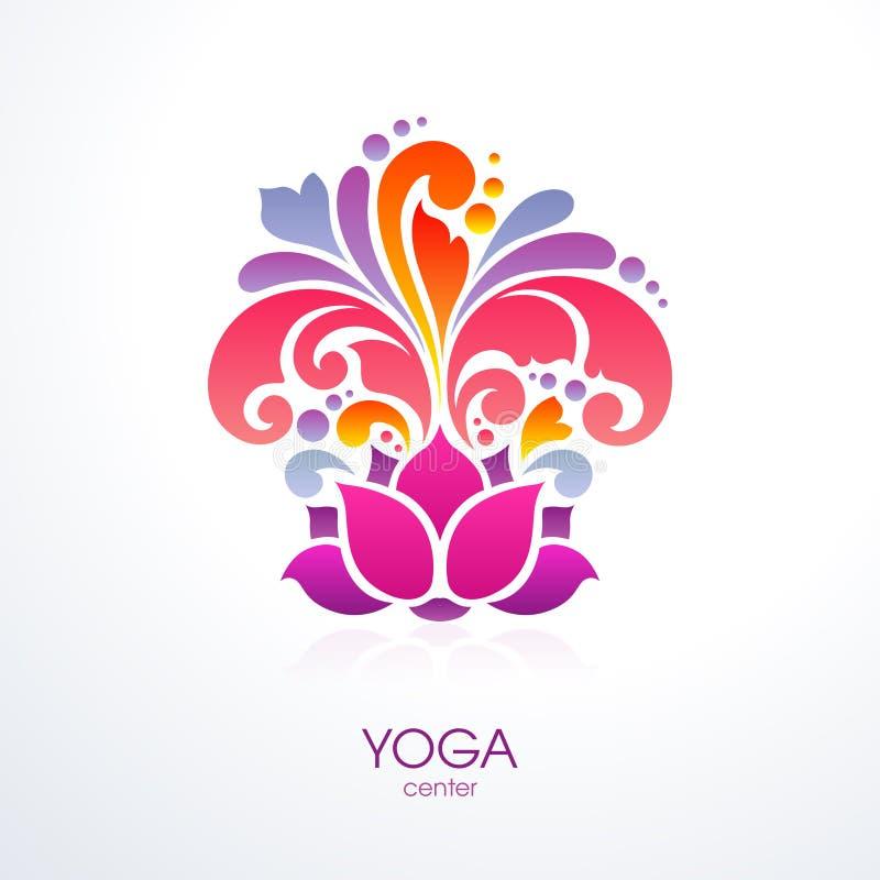 La classe decorativa di yoga di logo dell'elemento di progettazione dell'icona di simbolo del fiore di loto della spruzzata del f royalty illustrazione gratis