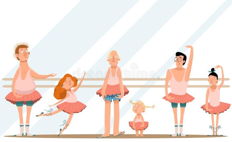 La classe/divertimento di balletto con il papà/piccoli derivati svegli ed i loro giovani papà in gonne sta ballando nello studio  immagine stock