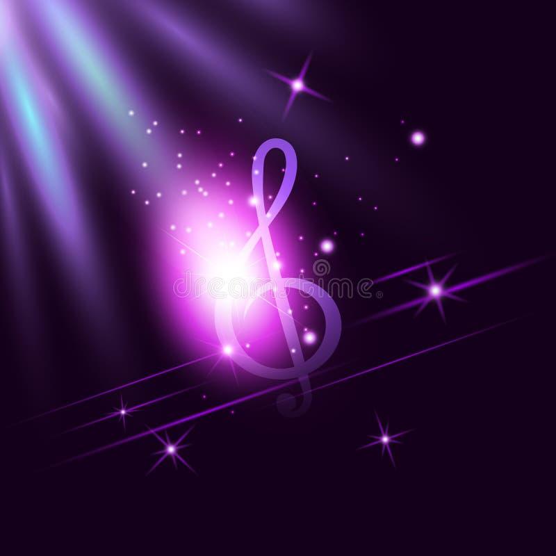 La clave de sol de neón radiante de la música en ultravioleta oscuro iluminó el fondo Disco, jazz, estallido, concierto, club, ca ilustración del vector