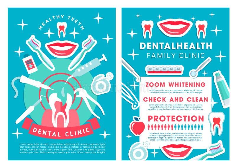 La clinique dentaire entretient l'affiche avec la liste de procédures illustration de vecteur