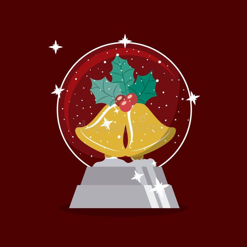 La cloche d'or et la sphère du Joyeux Noël conçoivent illustration stock