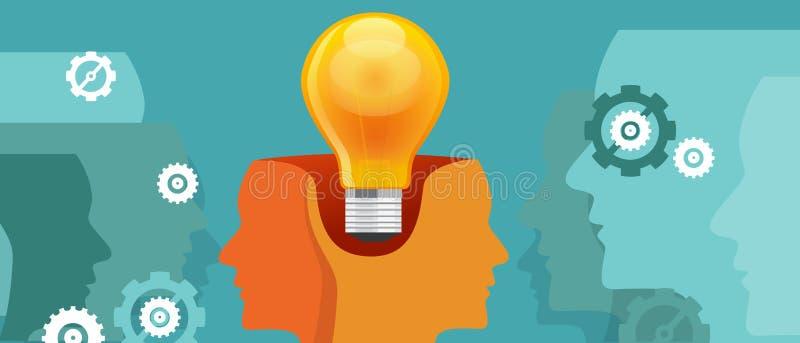 la Co-création pensent la collaboration de travail deux têtes avec une idée illustration stock