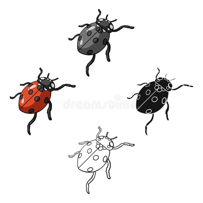 La coccinelle est un arthropode Le scarabée d'insecte, icône simple de coccinelle dans la bande dessinée, actions noires de symbo illustration stock