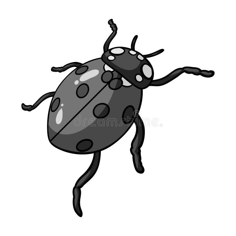 La coccinelle est un arthropode Le scarabée d'insecte, icône simple de coccinelle en stock monochrome de symbole de vecteur de st illustration de vecteur