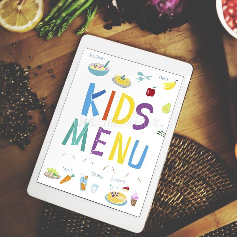 La cocina del menú de los niños sirve concepto de la comida fotos de archivo libres de regalías