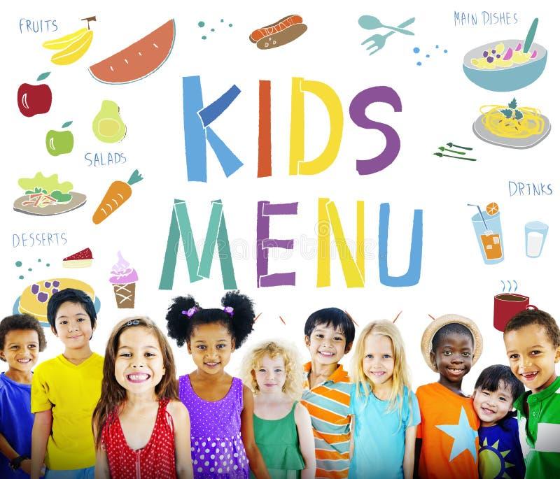 La cocina del menú de los niños sirve concepto de la comida foto de archivo