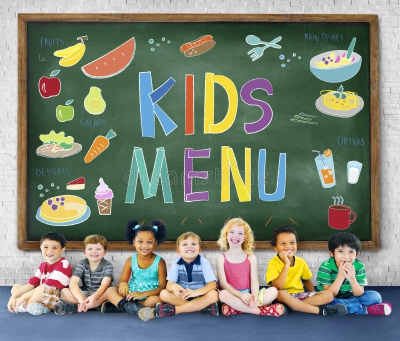 La cocina del menú de los niños sirve concepto de la comida foto de archivo libre de regalías