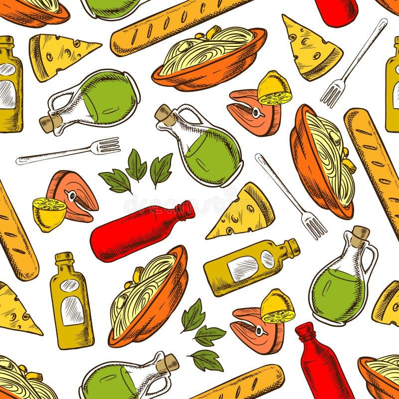La cocina italiana inconsútil sirve y bebe el modelo ilustración del vector