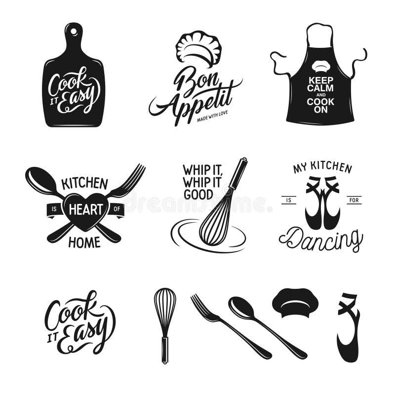La cocina relacionó el sistema de la tipografía Citas sobre cocinar Ejemplo del vector del vintage stock de ilustración