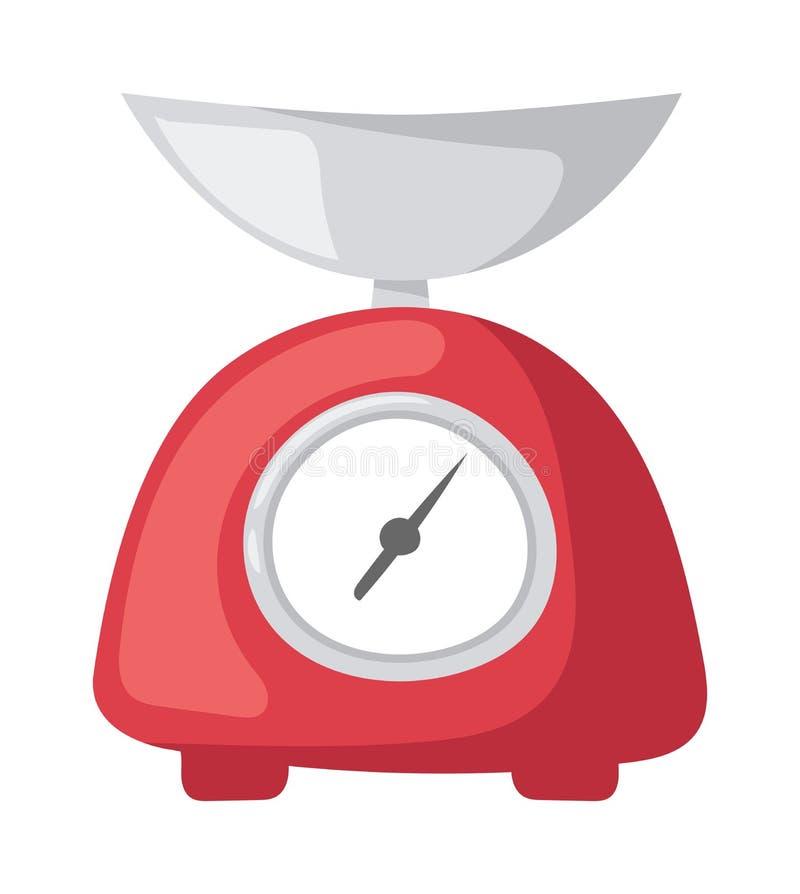 La cocina roja del peso del ejemplo del vector escala el electrodoméstico de la medida libre illustration