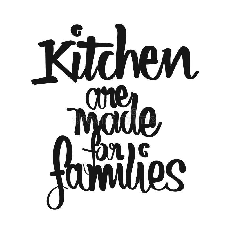 La cocina se hace para las letras manuscritas de las familias ilustración del vector