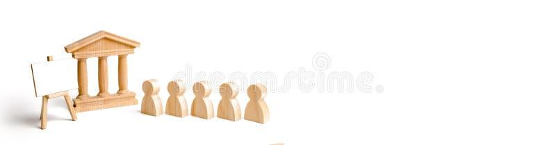 La coda della gente alla casa del governo o della banca ed il supporto con una tela vuota, il concetto di conservazione illustrazione vettoriale