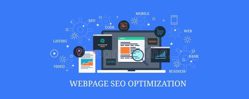 La codificación in situ de Seo para la página web, sitio web que programaba, optimizó las páginas web para el resultado del Searc stock de ilustración