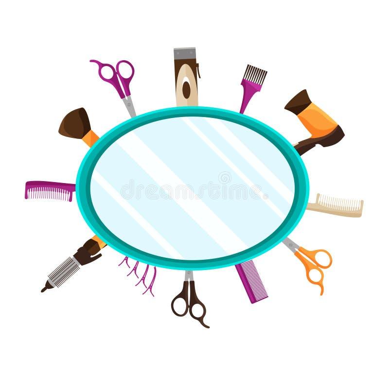 La coiffure usine le fond plat de miroir illustration stock