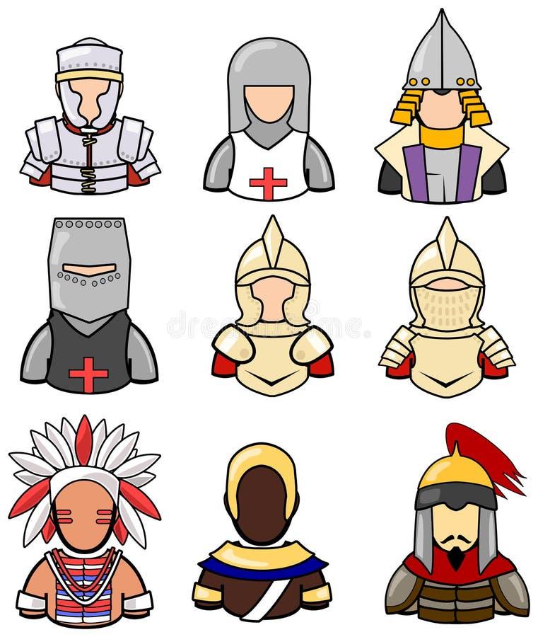 La colección antigua del icono del guerrero fijó 2 ilustración del vector