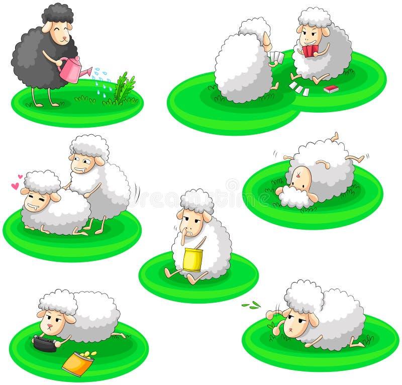 La colección blanco y negro de la actividad de las ovejas fijó (vec libre illustration