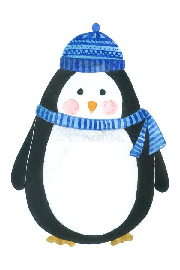 La colección de la acuarela de la historieta del pingüino en el fondo blanco, mano dibujada para los niños, tarjeta de felicitaci imagen de archivo