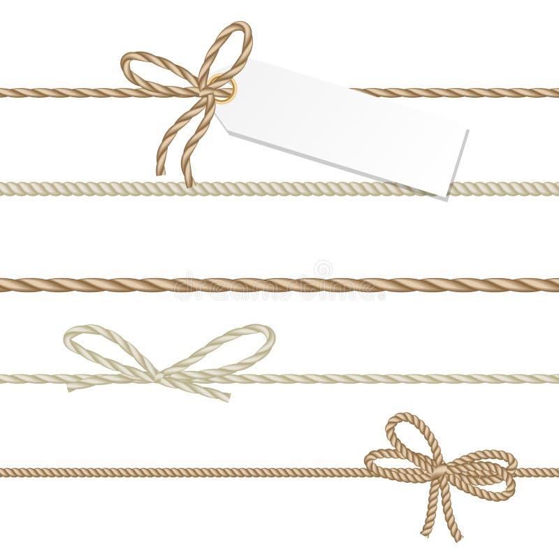 La colección de ahd de las cintas arquea en estilo de la cuerda ilustración del vector