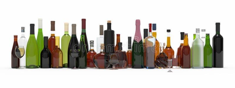 La colección de botellas alcohólicas aisló la representación 3d fotos de archivo