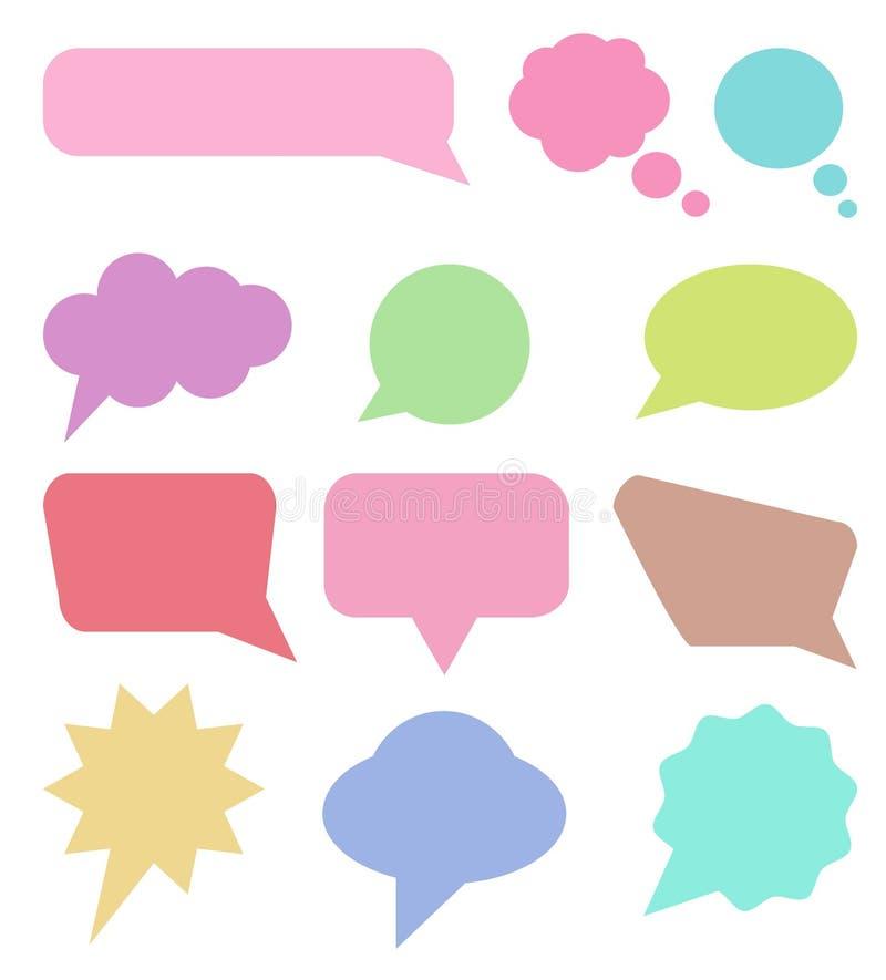 La colección de burbujas y de diálogo coloridos del discurso hincha stock de ilustración