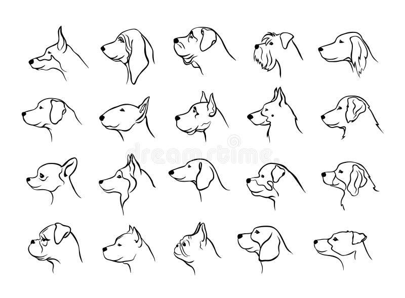 La colección de cabezas de perros perfila siluetas de los retratos de la vista lateral en negro stock de ilustración