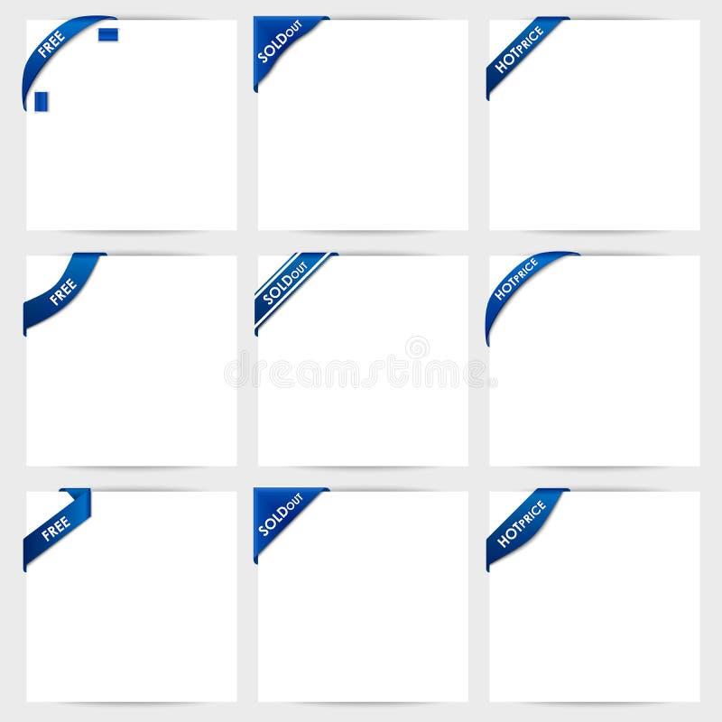 La colección de cintas de la esquina azules libera, agotado, ho