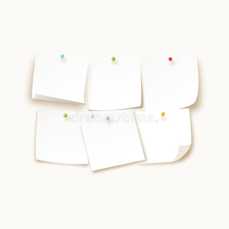 La colección de diversos papeles de nota coloreados de las hojas con el perno encrespado de la esquina y del empuje, alista para  ilustración del vector