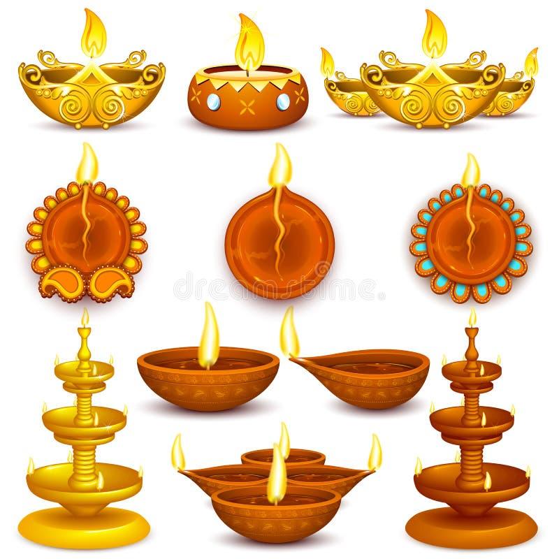 La colección de Diwali adornó Diya stock de ilustración