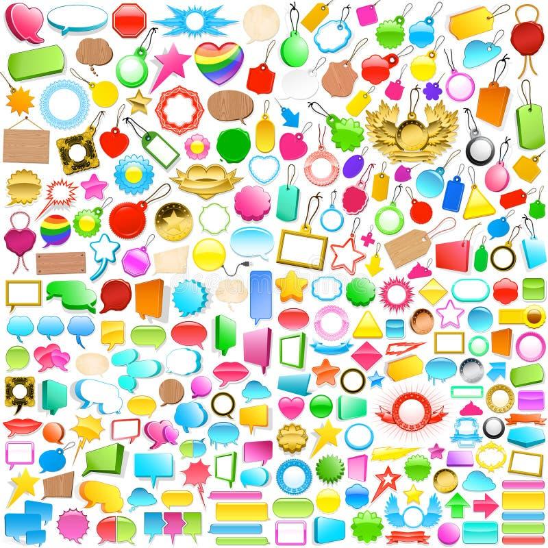 La colección de escrituras de la etiqueta, de etiquetas y de discurso burbujea stock de ilustración