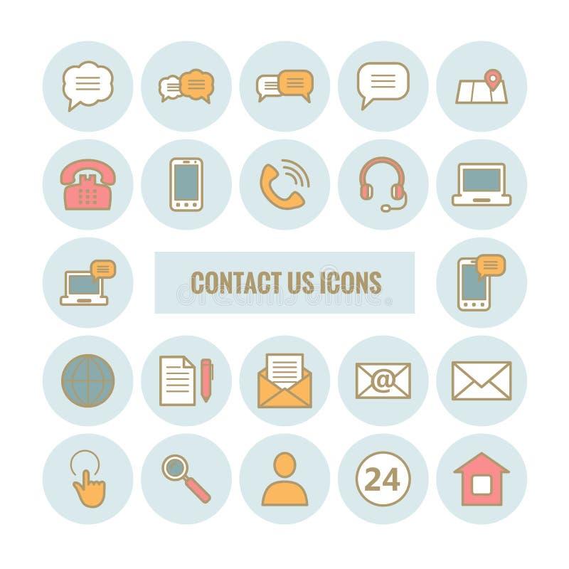 La colección de esquema nos entra en contacto con los iconos ilustración del vector