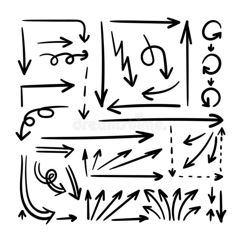 La colección de flechas exhaustas del garabato de la mano, pasos del vector con las flechas proyecta, diseña el sistema de elemen ilustración del vector