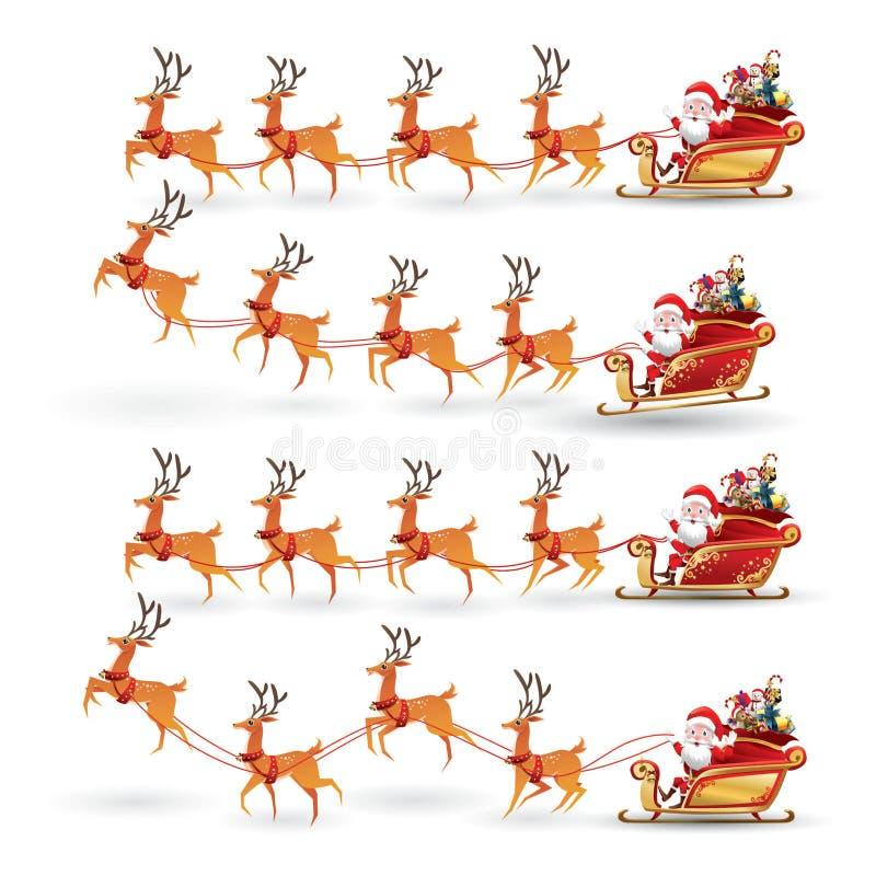 La colección de la historieta de la Navidad Santa Claus monta el trineo del reno en la Navidad con diversa emoción de la actitud  ilustración del vector