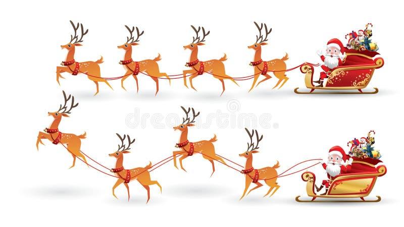 La colección de la historieta de la Navidad Santa Claus monta el trineo del reno en la Navidad con diversa emoción de la actitud  stock de ilustración