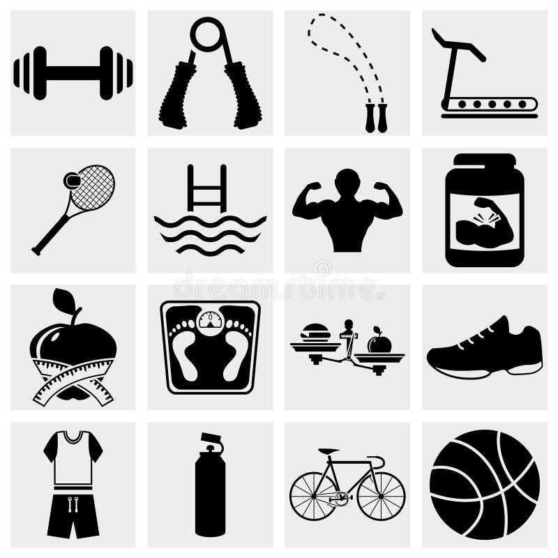 Iconos de la aptitud fijados stock de ilustración