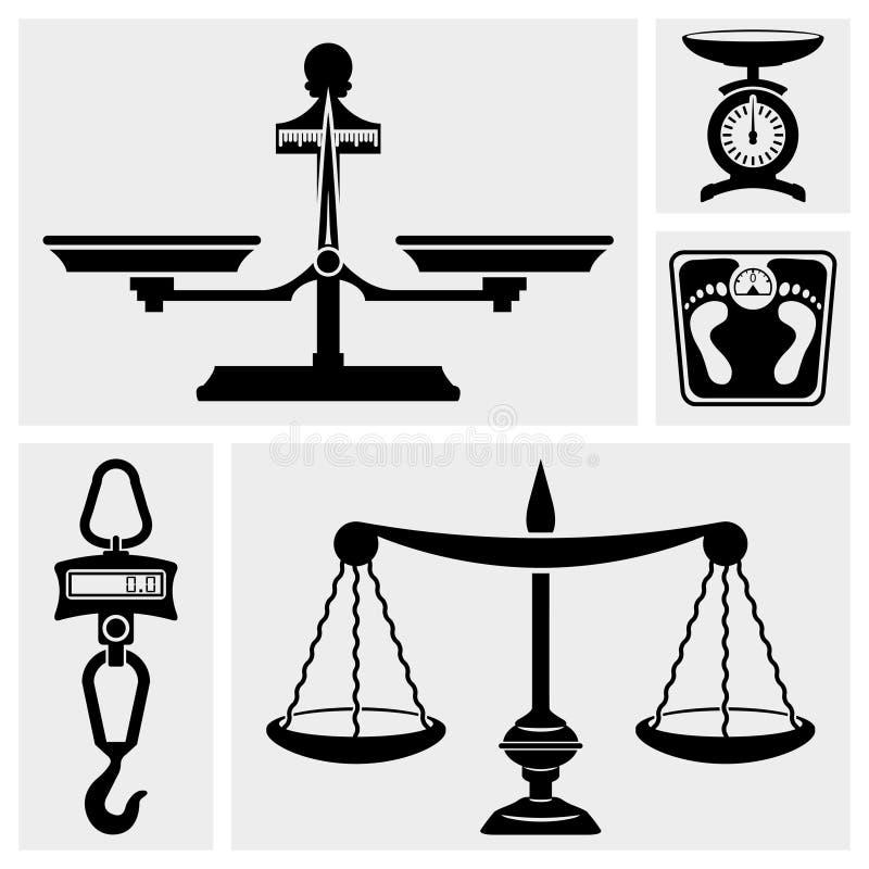 Icono de la escala. Escala del peso Scale.Hook del cuarto de baño. stock de ilustración