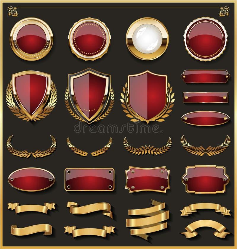 La colección de insignias rojas y de oro elegantes y las etiquetas diseñan elementos ilustración del vector