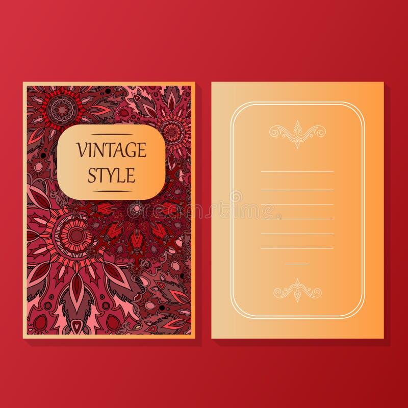 La colección de las tarjetas o de las invitaciones con los elementos decorativos del diseño del vintage redondo del ornamento de  libre illustration