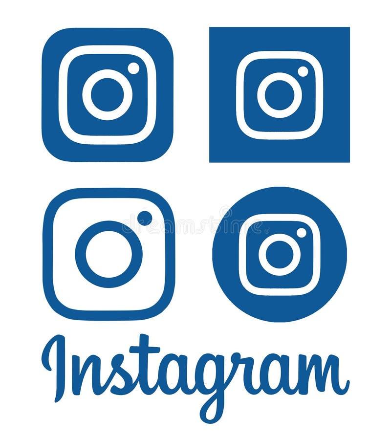 La colección de logotipos azules de Instagram imprimió en el papel stock de ilustración