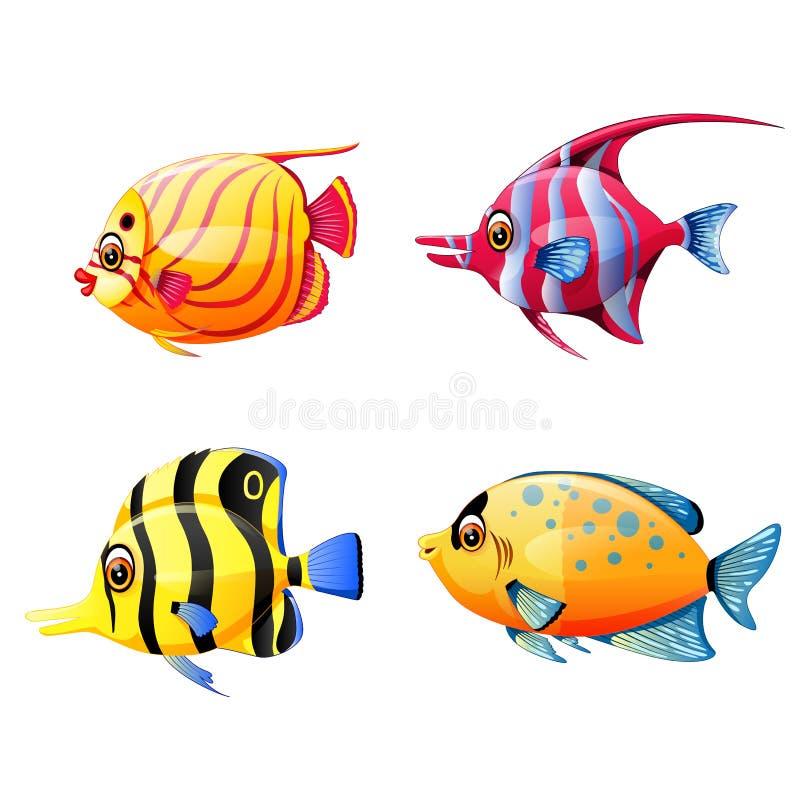 La colección de los pequeños pescados de mar con diverso color stock de ilustración