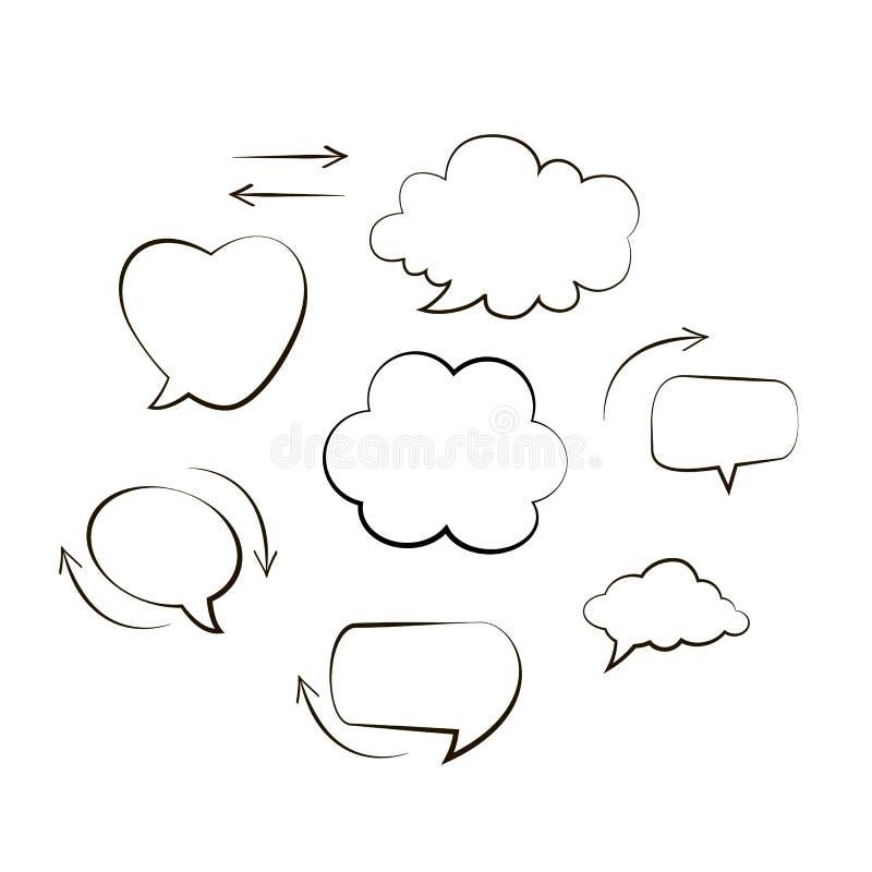 La colección de mano dibujada piensa y habla el mensaje de las burbujas del discurso Globo cómico negro del estilo del garabato,  libre illustration