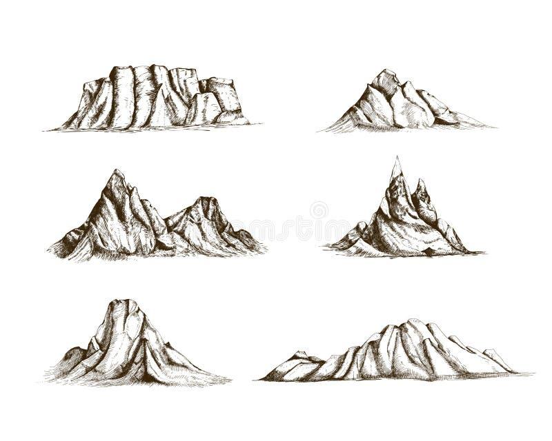 La colección de montañas da exhausto en estilo del vintage Sistema de los dibujos retros hermosos de los diversos acantilados y p stock de ilustración