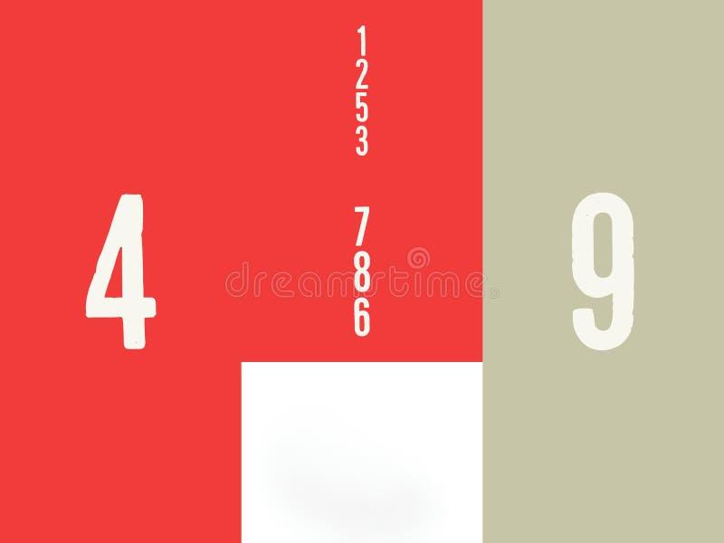 La colección de números en un fondo rojo matemático stock de ilustración