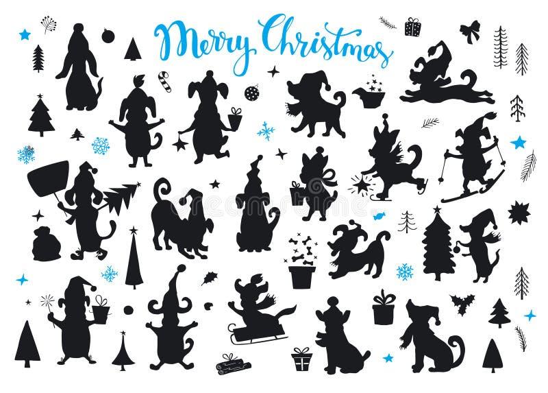 La colección de la Navidad de la historieta y de Feliz Año Nuevo persigue siluetas ilustración del vector