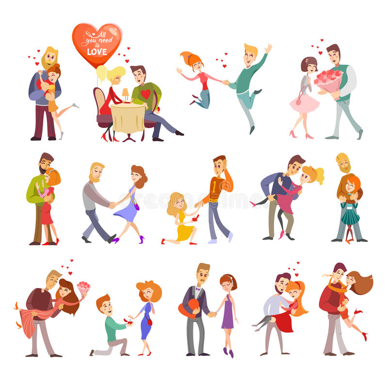 La colección de pares felices siluetea iconos libre illustration