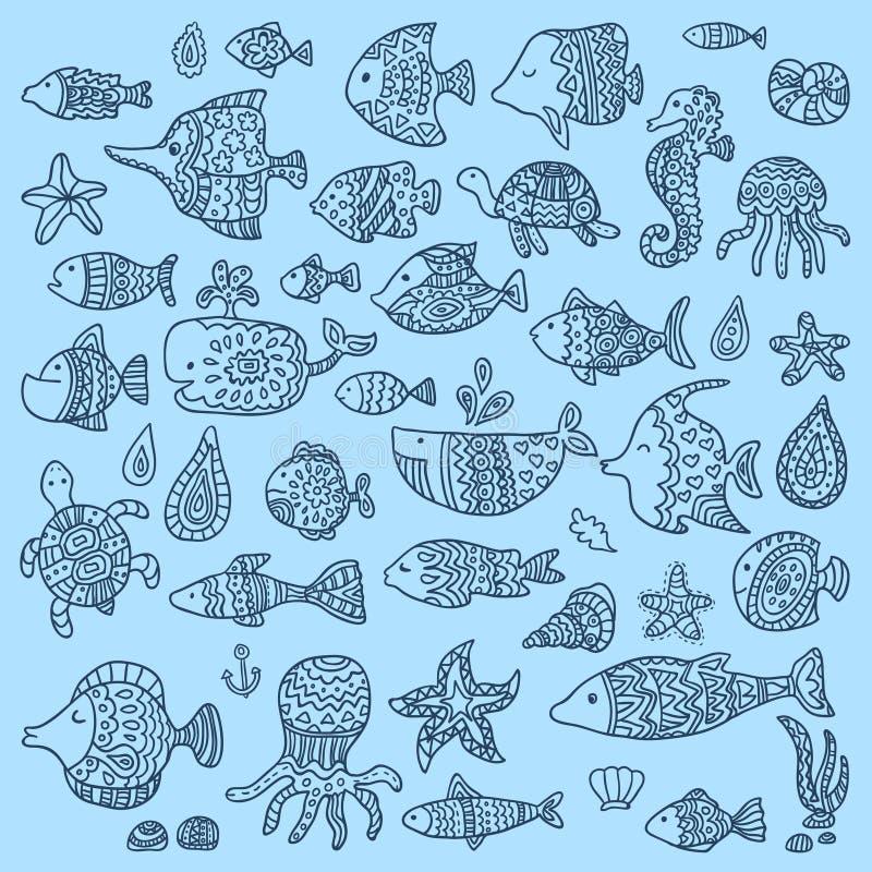La colección de peces marinos y de mamíferos ilustración del vector