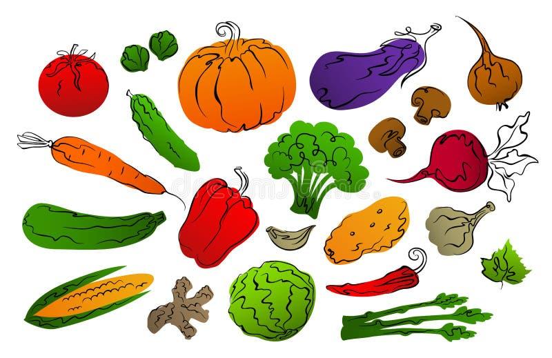 La colección de pendiente estilizada llenada y de mano negra dibujada resume verduras libre illustration