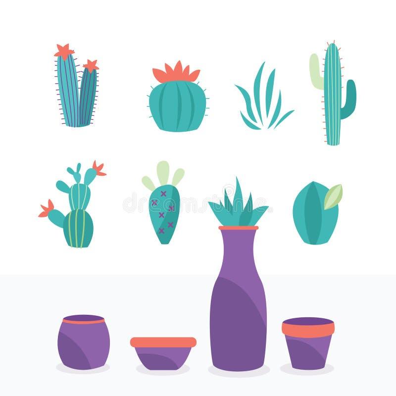 La colección de plantas exóticas y los elementos naturales decorativos se aíslan en fácil blanco cambiar el pote y la flor stock de ilustración